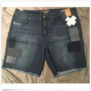 Seven7 Jean Shorts Plus Size 24W Patchwork NWT